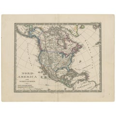 Antique Map of North America and the West Indies by Stieler, circa 1865