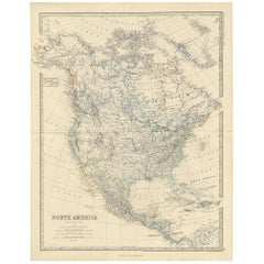 Antique Map of North America by A.K. Johnston, 1865