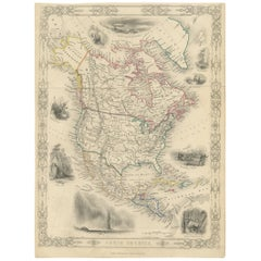Antique Map of North America by G. Virtue, circa 1860