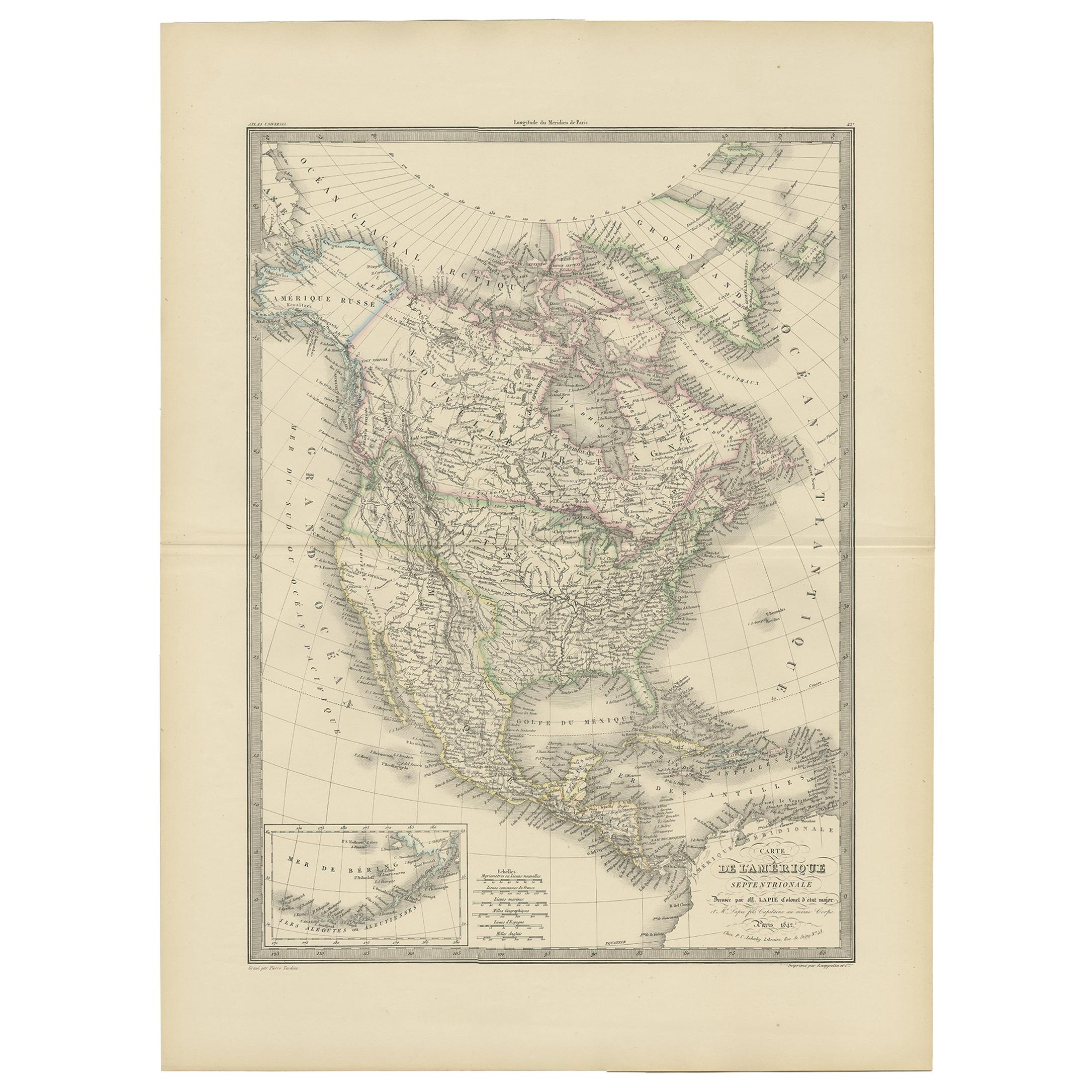 Antique Map of North America by Lapie '1842'