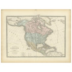 Antique Map of North America by Levasseur '1875'