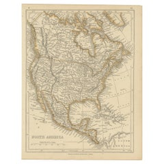 Antique Map of North America by Lowry '1852'