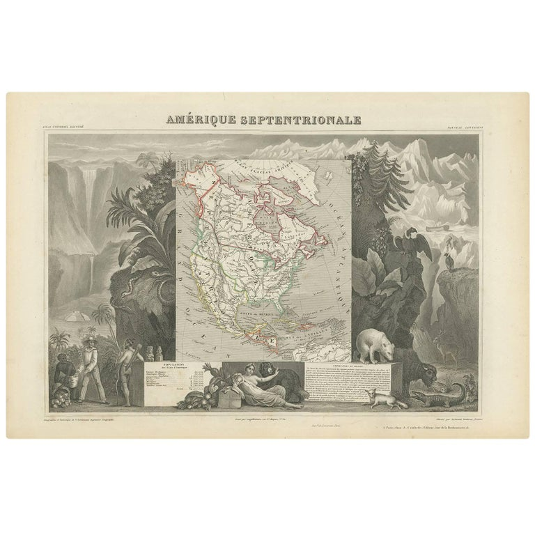 Antique Map of North America by V. Levasseur, 1854 For Sale