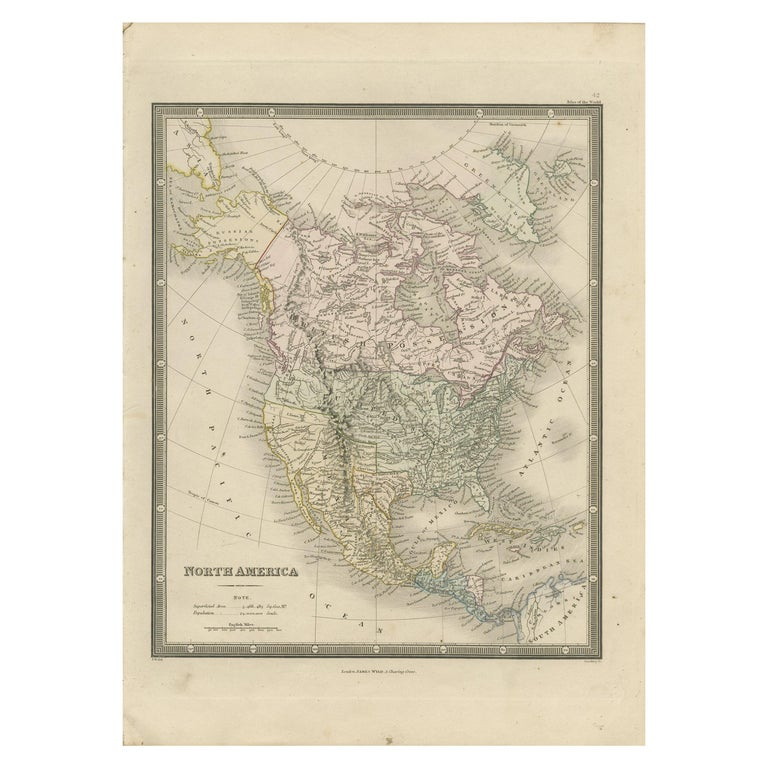 Antique Map of North America by Wyld '1845' For Sale