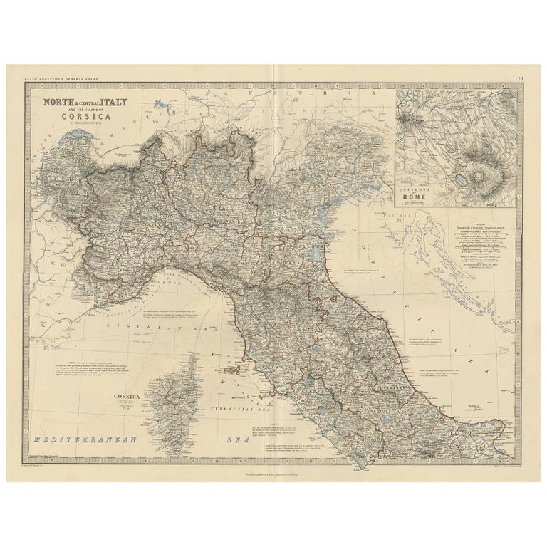 Map Of North Italy.Antique Map Of North And Central Italy By A K Johnston 1865