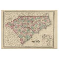Antique Map of North Carolina and South Carolina by Johnson, 1872