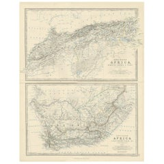 Antique Map of North-Western and South Africa by A.K. Johnston, 1865