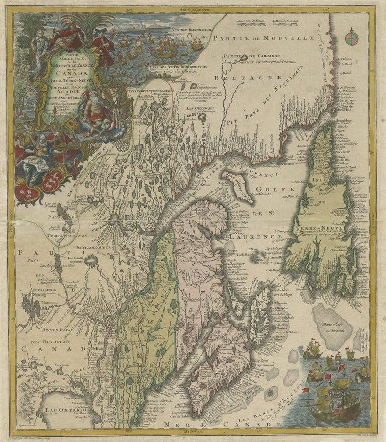 Antique map titled 'Partie Orientale de la Nouvelle France ou du Canada avec l'Isle de Terre-Neuve et de Nouvelle Escosse, Acadie et Nouv. Angleterre avec Fleuve de St. Laurence'. Original antique map of Northeastern Canada, including Nova Scotia,
