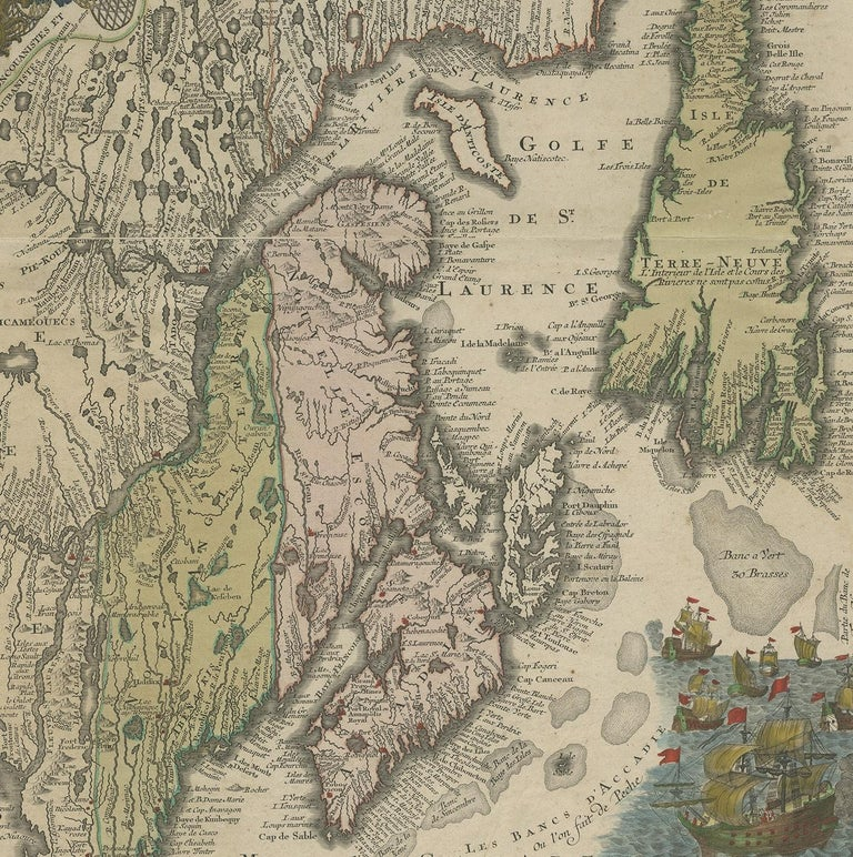 18th Century Antique Map of Northeastern Canada by Lotter 'circa 1760' For Sale