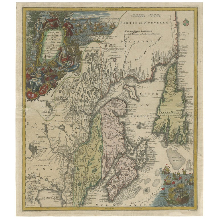 Antique Map of Northeastern Canada by Lotter 'circa 1760' For Sale