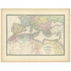 Antique Map of Northern Africa and Southern Europe by Levasseur, '1875'