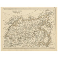 Antique Map of Northern Asia by Lowry, 1852