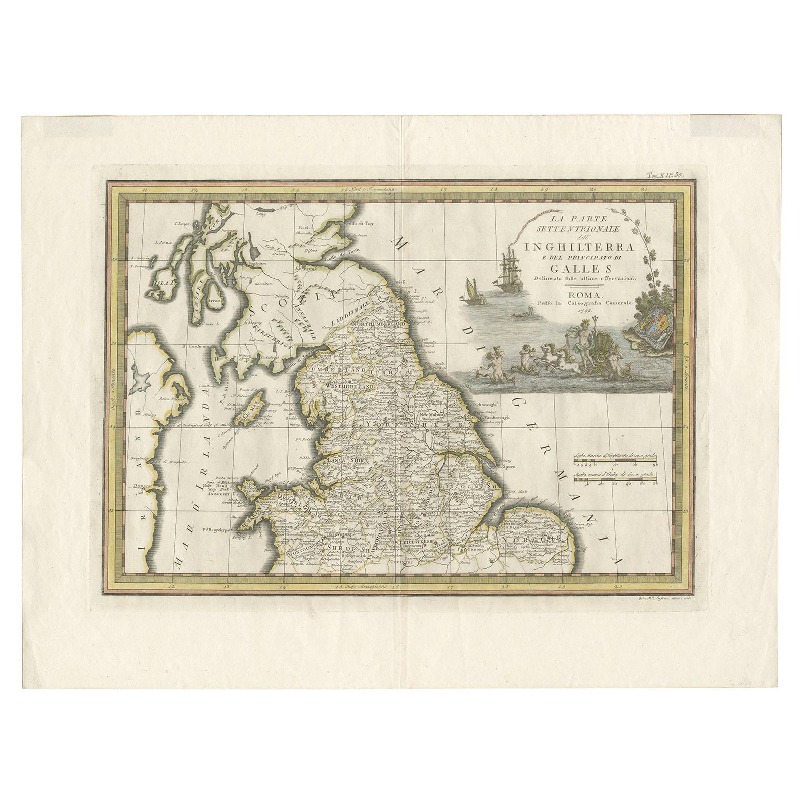 Antique Map of Northern England and Wales by Cassini, 'circa 1795'