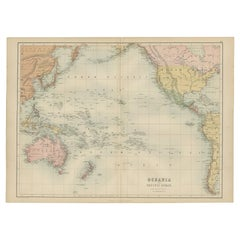 Antique Map of Oceania and the Pacific Ocean by A & C. Black, 1870