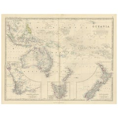 Antique Map of Oceania by A.K. Johnston, 1865