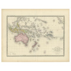 Antique Map of Oceania by Levasseur, circa 1860