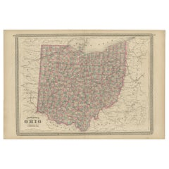 Antique Map of Ohio by Johnson, 1872