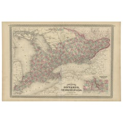 Antique Map of Ontario by Johnson, 1872