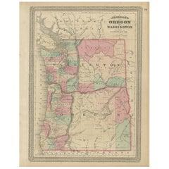 Antique Map of Oregon and Washington by Johnson, '1872'