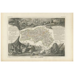 Antique Map of Orne 'France' by V. Levasseur, 1854