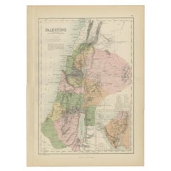 Antique Map of Palestine by A & C. Black, 1870