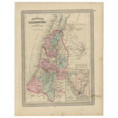 Antique Map of Palestine by Johnson, 1872