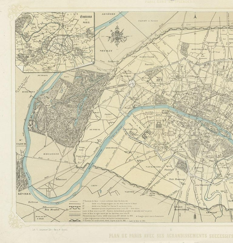 Antique Map of Paris by Benoist, '1861' In Good Condition In Langweer, NL