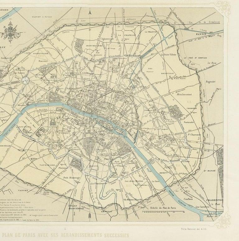 19th Century Antique Map of Paris by Benoist, '1861'