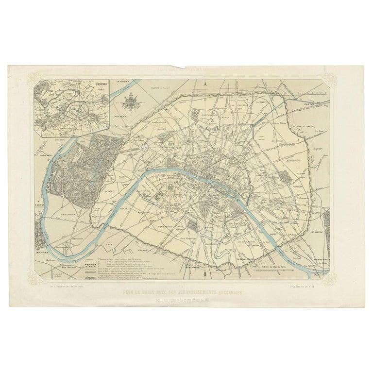 Antique Map of Paris by Benoist, '1861'