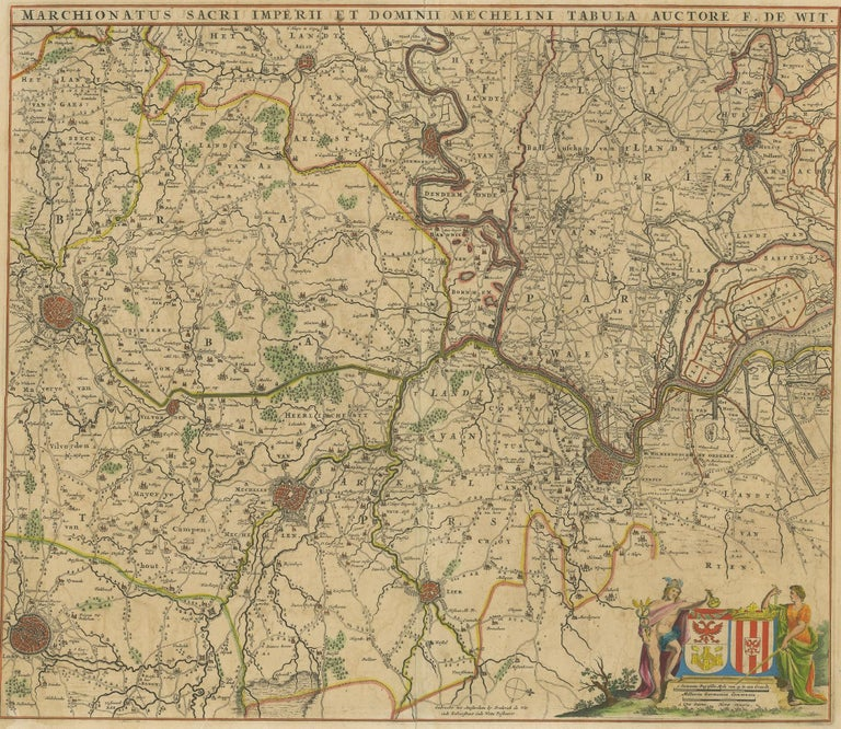 Antique map titled 'Marchionatus Sacri Imperii et Dominii Mechelini Tabula'. Large folio size map of the region around Mechelen, Leuven, Brussels, Dendermonde and Antwerp. Published by F. de Wit, circa 1680.