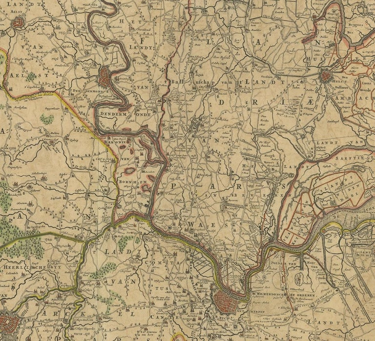 17th Century Antique Map of Part of Flanders 'Belgium' by F. de Wit 'circa 1680' For Sale