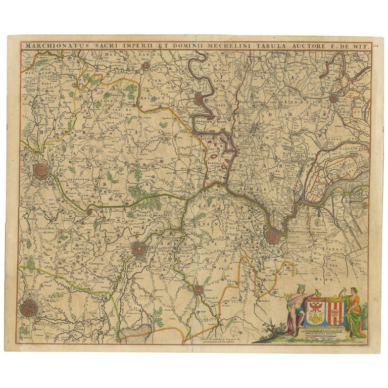 Antique Map of Part of Flanders 'Belgium' by F. de Wit 'circa 1680' For Sale