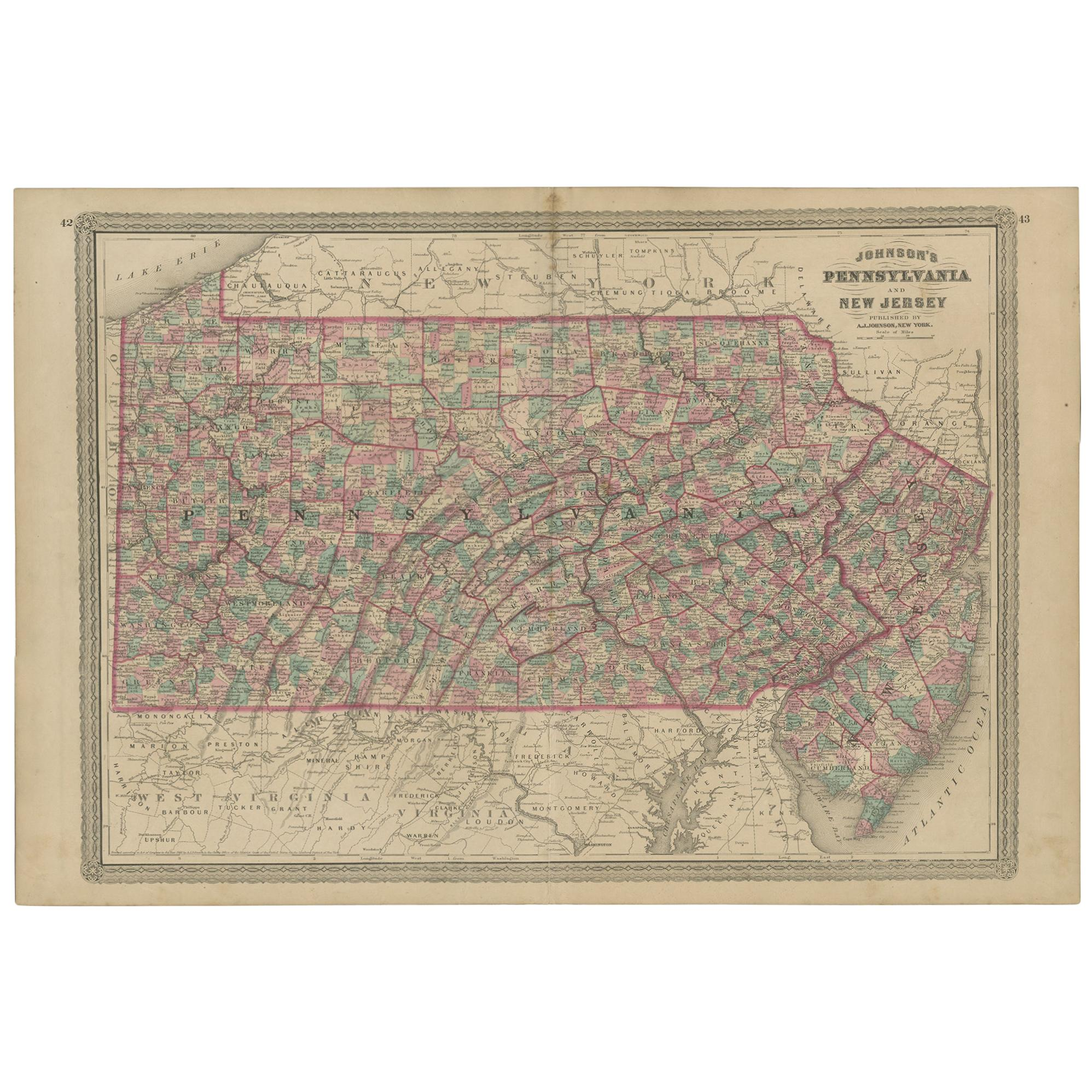 Antique Map of Pennsylvania and New Jersey by Johnson, 1872