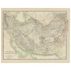 Antique Map of Persia and Afghanistan by Johnston '1909'