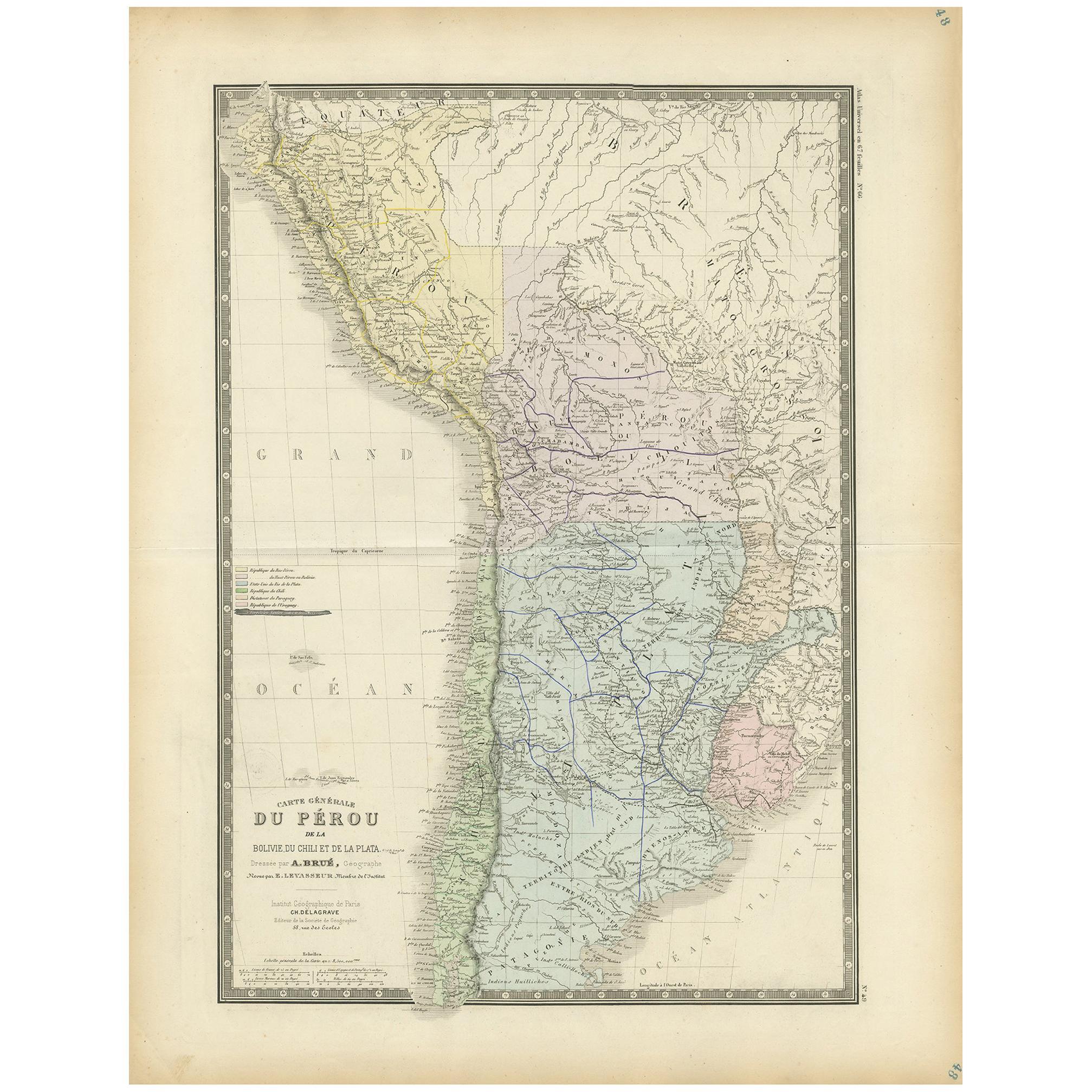 Antique Map of Peru by Levasseur, 1875