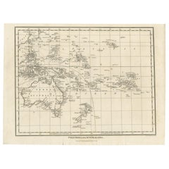 Antique Map of Polynesia and Australasia by Neele, 1825
