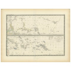 Antique Map of Polynesia by Levasseur, '1875'