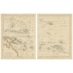 Antique Map of Polynesia by Lowry '1852'