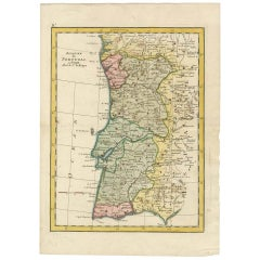 Antique Map of Portugal and a large lithograph of a Lady near the Water