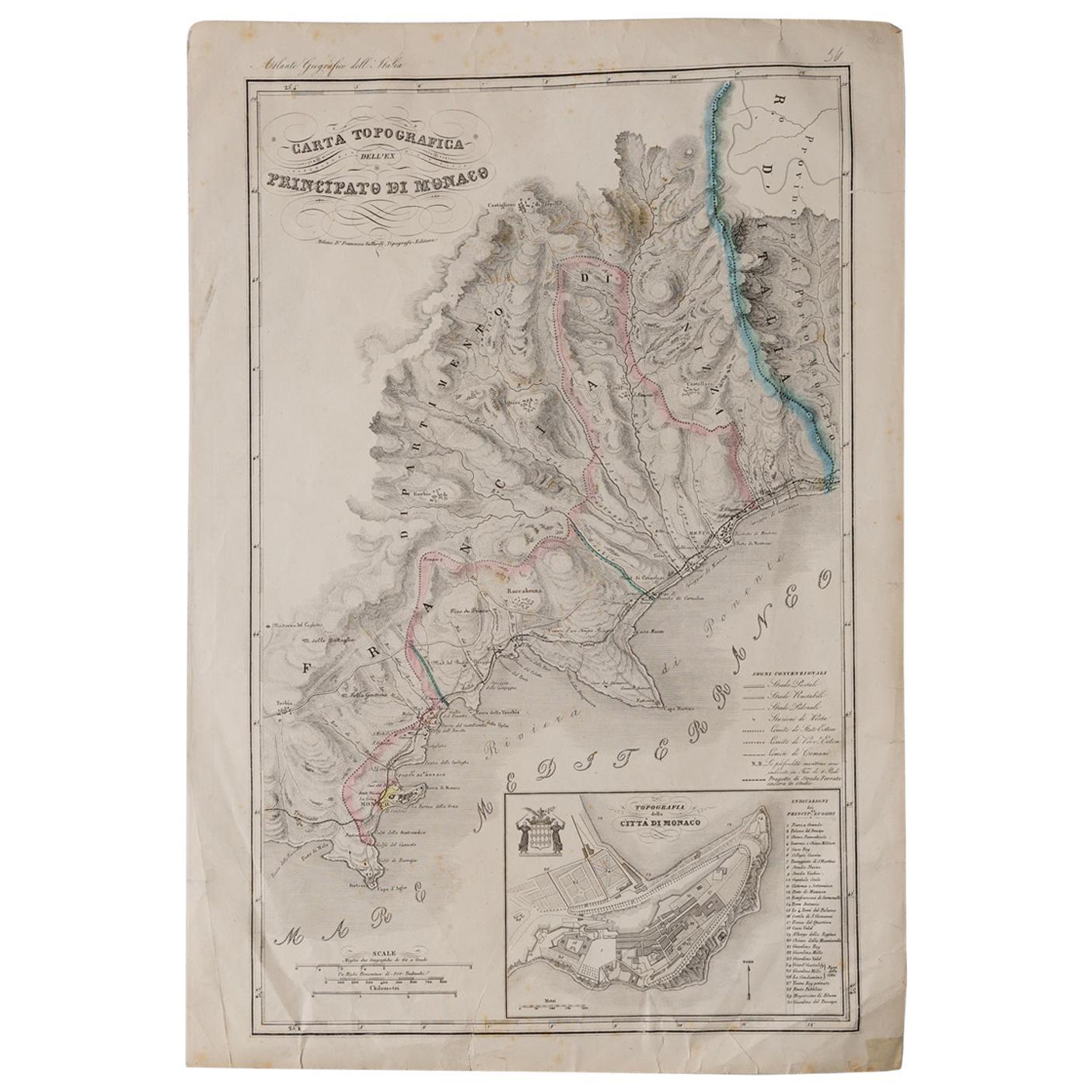 Antique Map of Principality of Monaco