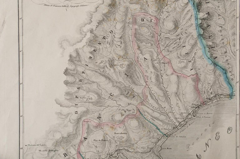 Other Antique Map of Principality of Monaco For Sale