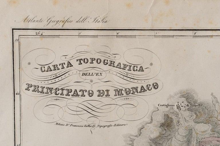 Italian Antique Map of Principality of Monaco For Sale