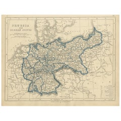 Antique Map of Prussia and German States by Lowry, 1852
