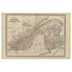 Antique Map of Quebec by Johnson, 1872