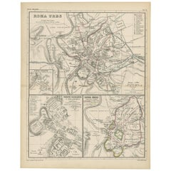 Antique Map of Rome 'Italy' by H. Kiepert, circa 1870