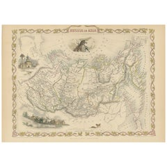 Antique Map of Russia in Asia by Tallis, '1851'