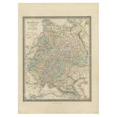 Antique Map of Russia in Europe and Poland by Wyld '1845'