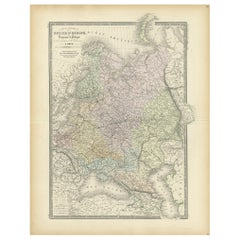 Antique Map of Russia in Europe by Levasseur, '1875'