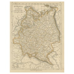 Antique Map of Russia in Europe by Lowry, 1852