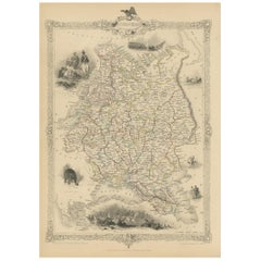 Antique Map of Russia in Europe by Tallis, '1851'